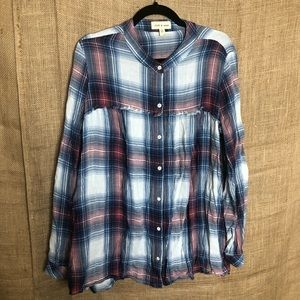 Cloth & Stone Plaid Flannel Top Long Sleeve Shirt